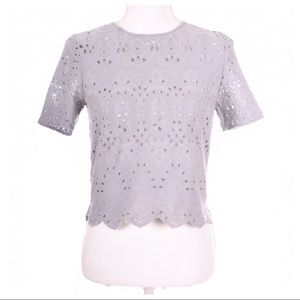 ZARA Crochet Eyelet Grey Crop Top Size S